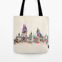 hogwarts Tote Bags featuring hogwarts school of magic by bri.buckley