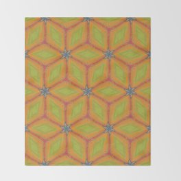Green and Gold Tile Pattern Repeating Throw Blanket