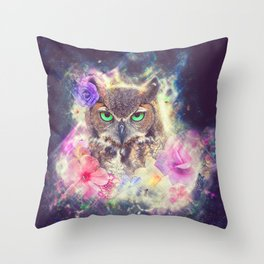 Space Owl with Spice Throw Pillow