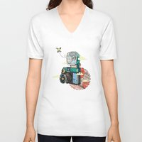 vintage camera V-neck T-shirts featuring Camera by dmirilen