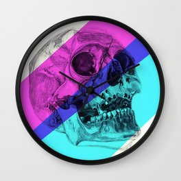 Skull pencil drawing with colour Wall Clock