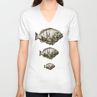 fish V-neck T-shirts featuring fish by Кaterina Кalinich