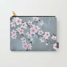 Dusky Pink Grayish Blue Cherry Blossom Carry-All Pouch