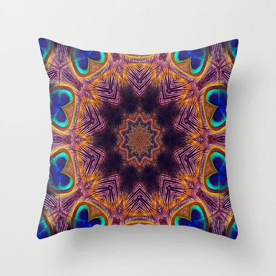 Peacock Fan Star Abstract Throw Pillow