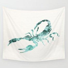 Green Shibori Scorpion  Wall Tapestry