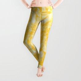 Sea Wave Abstraction Yellow Leggings