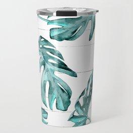 Turquoise Palm Leaves on White Wood Travel Mug