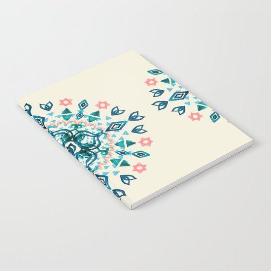 Watercolor Lotus Mandala in Teal & Salmon Pink Notebook