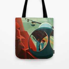 Mars Retro Space Travel Poster Tote Bag