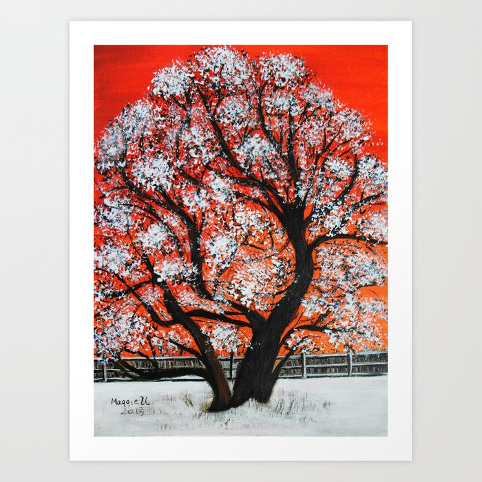 Snowy old tree Art Print