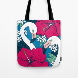 Flamingos and tropical flowers and leaves Tote Bag