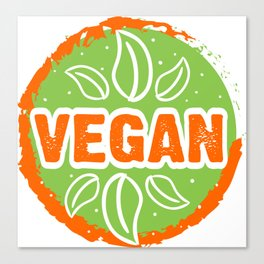 Go Vegan, green and orange, circle Canvas Print
