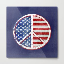 Watercolor Patriot Peace Symbol Stars and Stripes USA Flag Metal Print