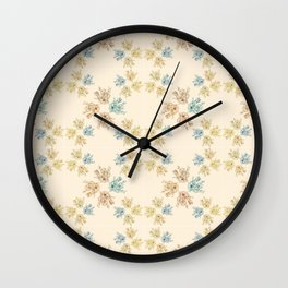 Cream floral theme pattern design Wall Clock