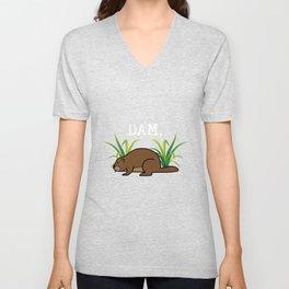 Funny Beaver Animal Pun Dam Nature Lover Unisex V-Neck