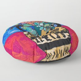 Lions and Tigers Vase with Protea Bouquet Floor Pillow