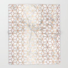 Hive Mind Marble Rose Gold #789 Throw Blanket