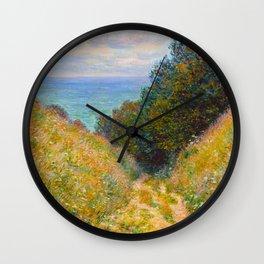 Claude Monet Impressionist Landscape Oil Painting Road at La Cavée, Pourville Wall Clock