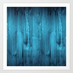 Blue Wood Planks Art Print