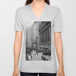 Vintage Wall Street NYC Photograph (1921) Unisex V-Neck