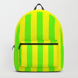 Super Bright Neon Yellow and Green Vertical Beach Hut Stripes Backpack