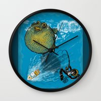 baloon Wall Clocks featuring pufferfish baloon by MR VELA
