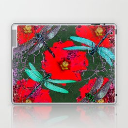 ANTIQUE CRACKLED  BLUE DRAGONFLIES ON RED HOLLYHOCK FLOWERS Laptop & iPad Skin