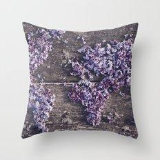 Lilac world map Throw Pillow