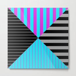 Stripes Quadrant - Purple, blue, black and grey stripes pattern Metal Print