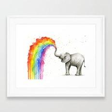 Baby Elephant Spraying Rainbow Whimsical Animals Framed Art Print
