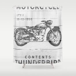Vintage Triumph Thunderbird Motorcycle Shower Curtain