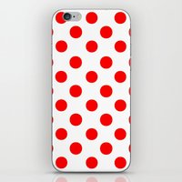 polka dots iPhone & iPod Skins featuring Polka Dots (Red/White) by 10813 Apparel