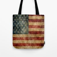 american flag Tote Bags featuring American Flag by KOverbee