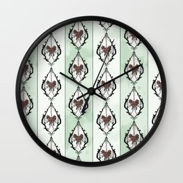 Rose chandelier damask mint Wall Clock