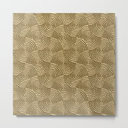 Golden glamour metal swirly surface Metal Print