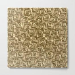 Golden glamour metal swirly surface Metal Print