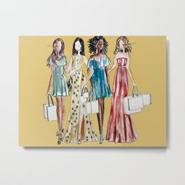 Shopping Friends (Yellow Background) Metal Print
