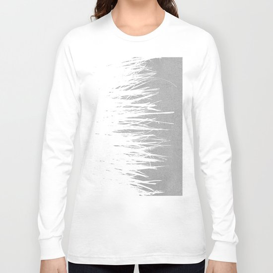 Concrete Fringe White Side Long Sleeve T-shirt