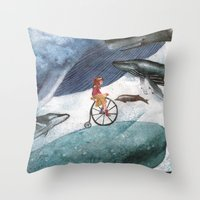whales Throw Pillows featuring Whales by Judith Chamizo