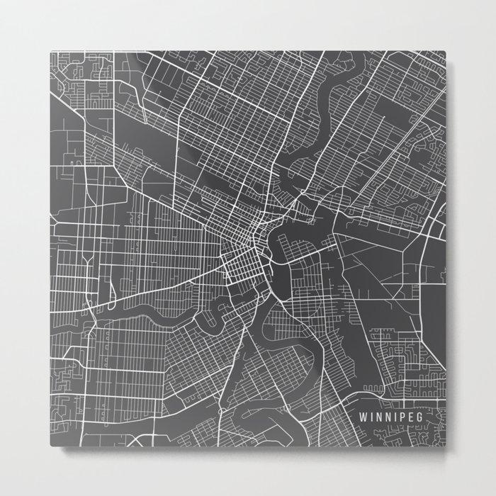 Winnipeg Map, Canada - Gray Metal Print