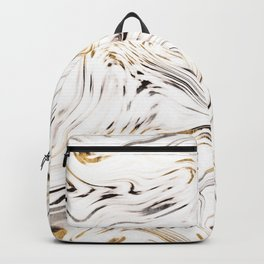 Liquid Gold Silver Black Marble #1 #decor #art #society6 Backpack