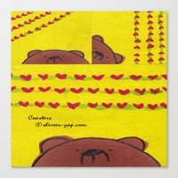 coasters Canvas Prints featuring Grumpy Bear - Coasters by Shereen Yap