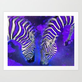 Night Sky Zebra Ultra Violet Art Print
