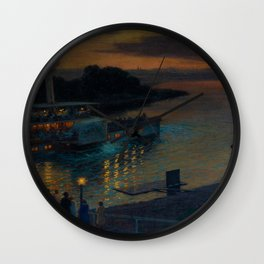 A Nightly River Cruise, Mississippi River by Ernst Max Pietschmann Wall Clock