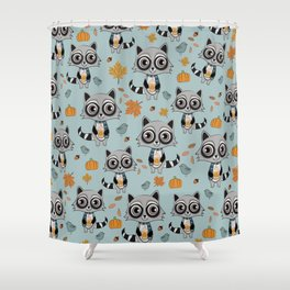 Coffee Lover Raccoon Shower Curtain