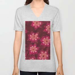 Burgundy Lace Rose Unisex V-Neck