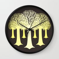gondor Wall Clocks featuring electricitrees by freshinkstain
