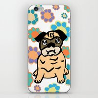 hippy iPhone & iPod Skins featuring Hippy Pug  by lindseyclare