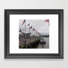 Hudson River, NY Police Boat, Intrepid Dock, New York City, USA Framed Art Print