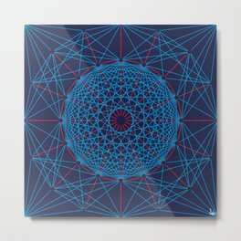 Geometric Circle Blue/Red Metal Print